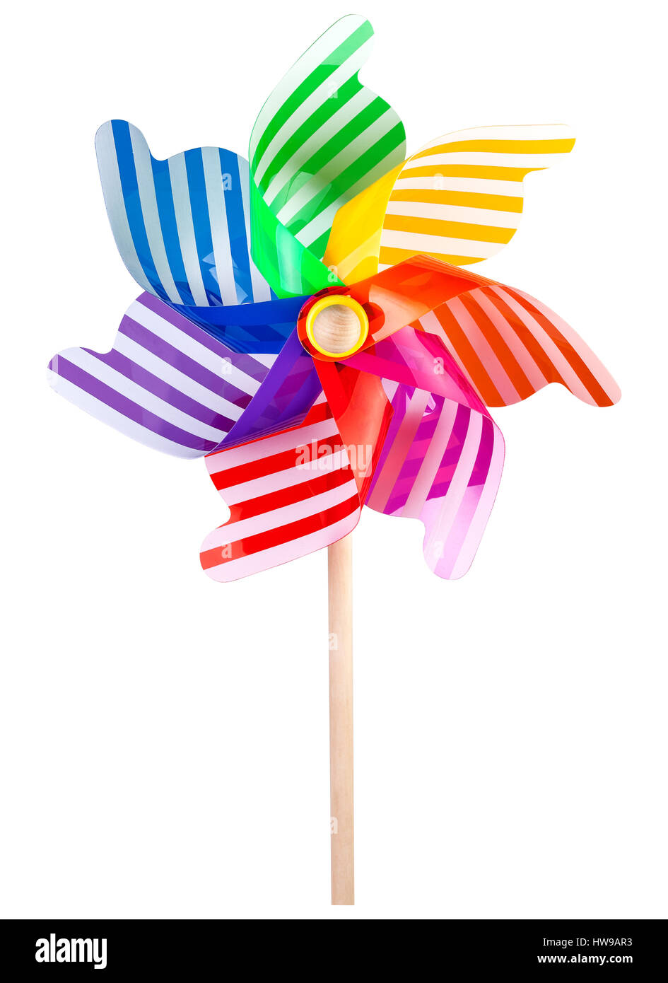 Pinwheel toy windmill multicolor garden wind spinner on white. Image included clipping path - Stock Image
