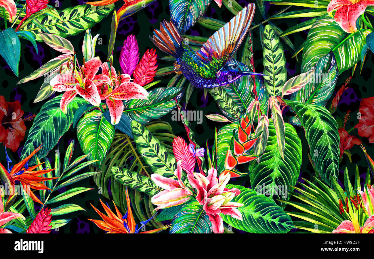 Seamless tropical floral pattern. Hand painted watercolor exotic leaves,flowers and a hummingbird, on leopard spots - Stock Image