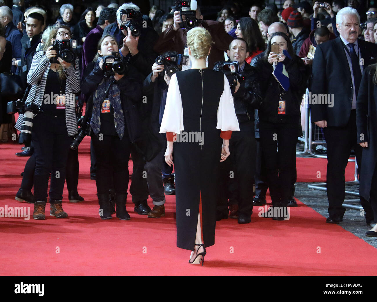 Feb 21, 2017  - Gillian Anderson attending 'Viceroys's House' UK Premiere at Curzon Mayfair in London, - Stock Image