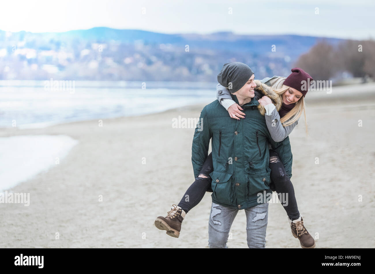 Piggyback ride! - Stock Image