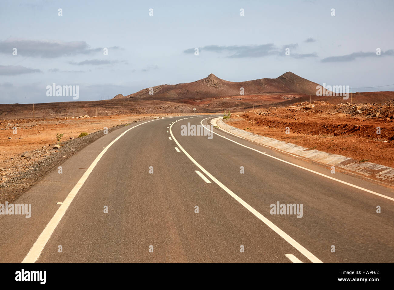 Tarmac road on Boa Vista Island, Cape Verde (Cabo Verde), Africa - Stock Image