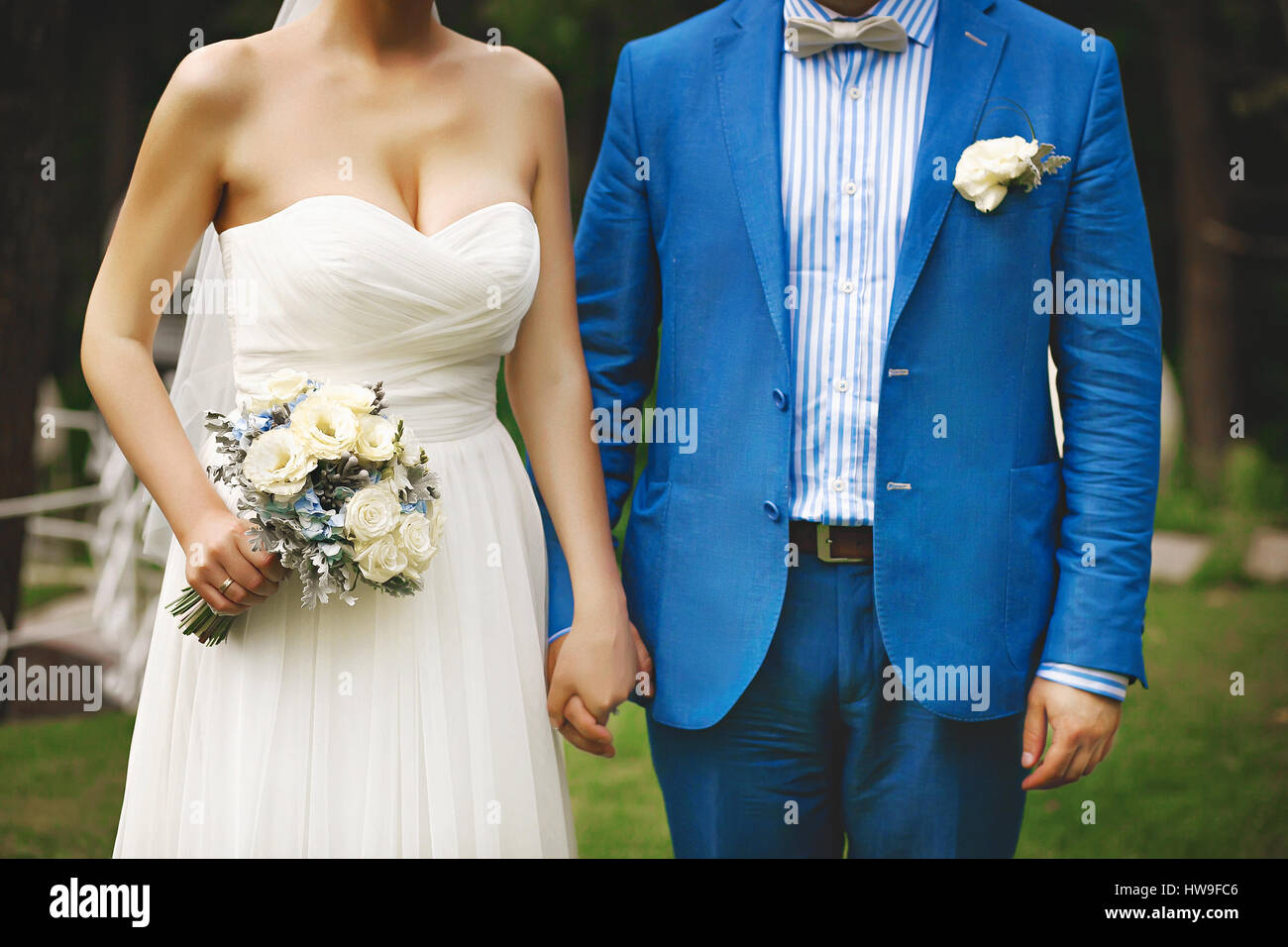 Young wedding couple. Groom and bride together. - Stock Image