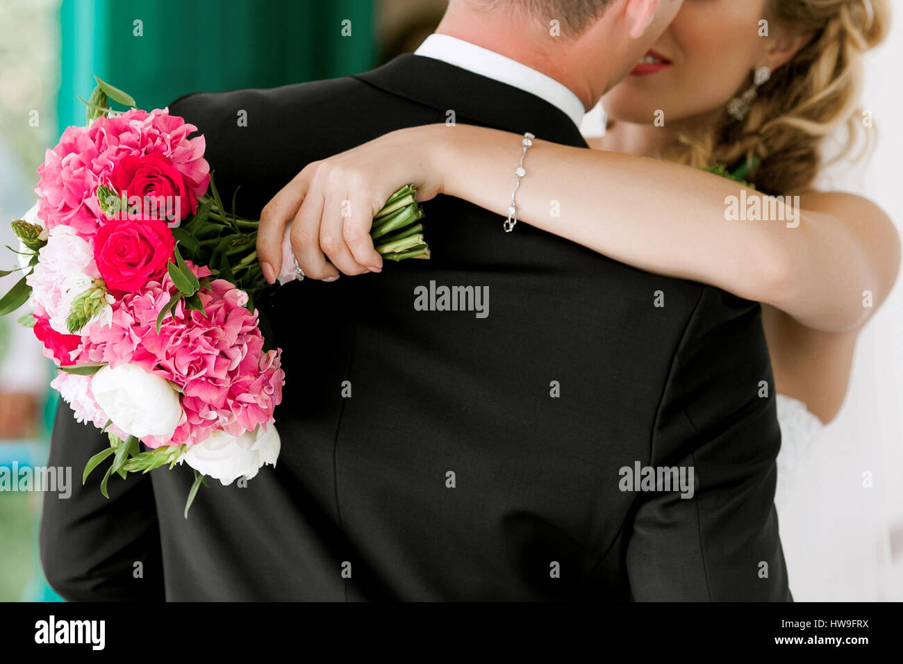 Young wedding couple. Groom and bride together - Stock Image