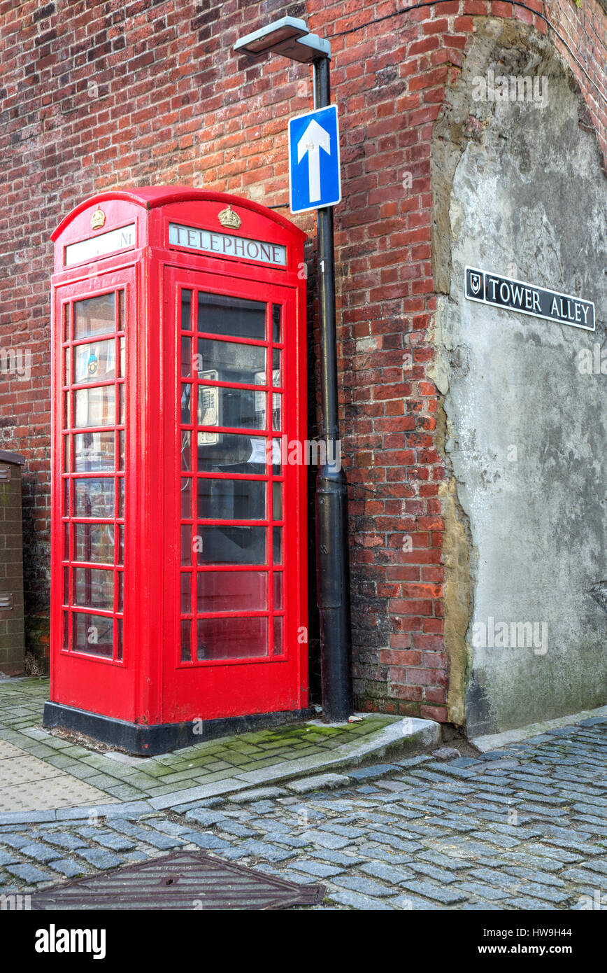 Portsmouth Uk, April 2017, Old Style telephone Box Old Portsmouth. - Stock Image