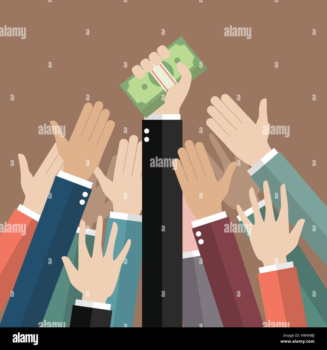 Fighting for money. Vector illustration - Stock Vector