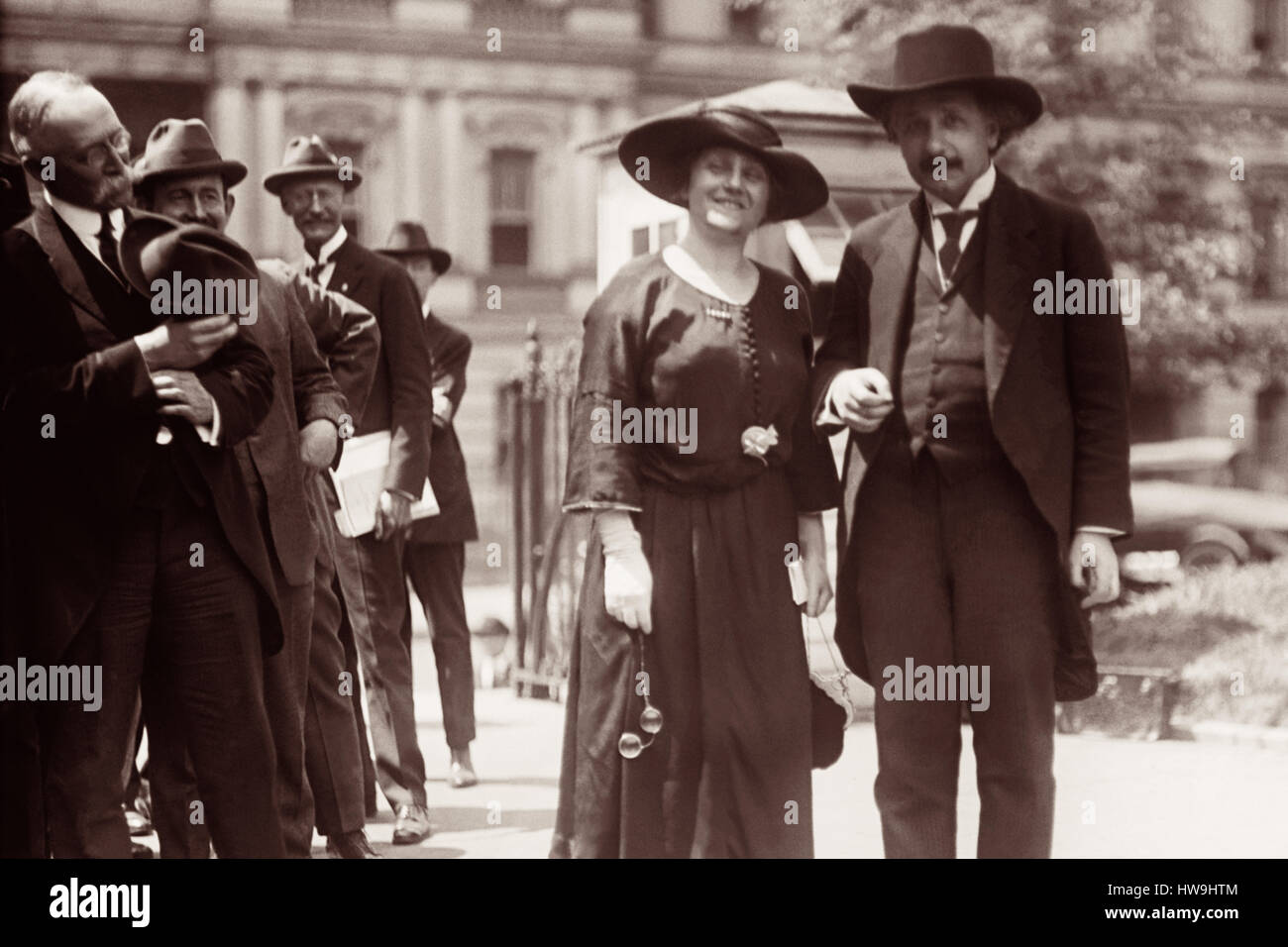 Albert Einstein and wife Elsa in front of the State, War, and Navy building in Washington, D.C. during their 1921 - Stock Image