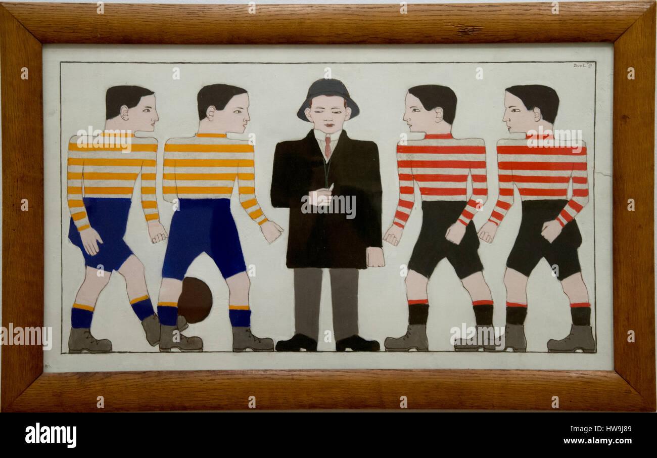'footballers' by bart van der leck - Stock Image