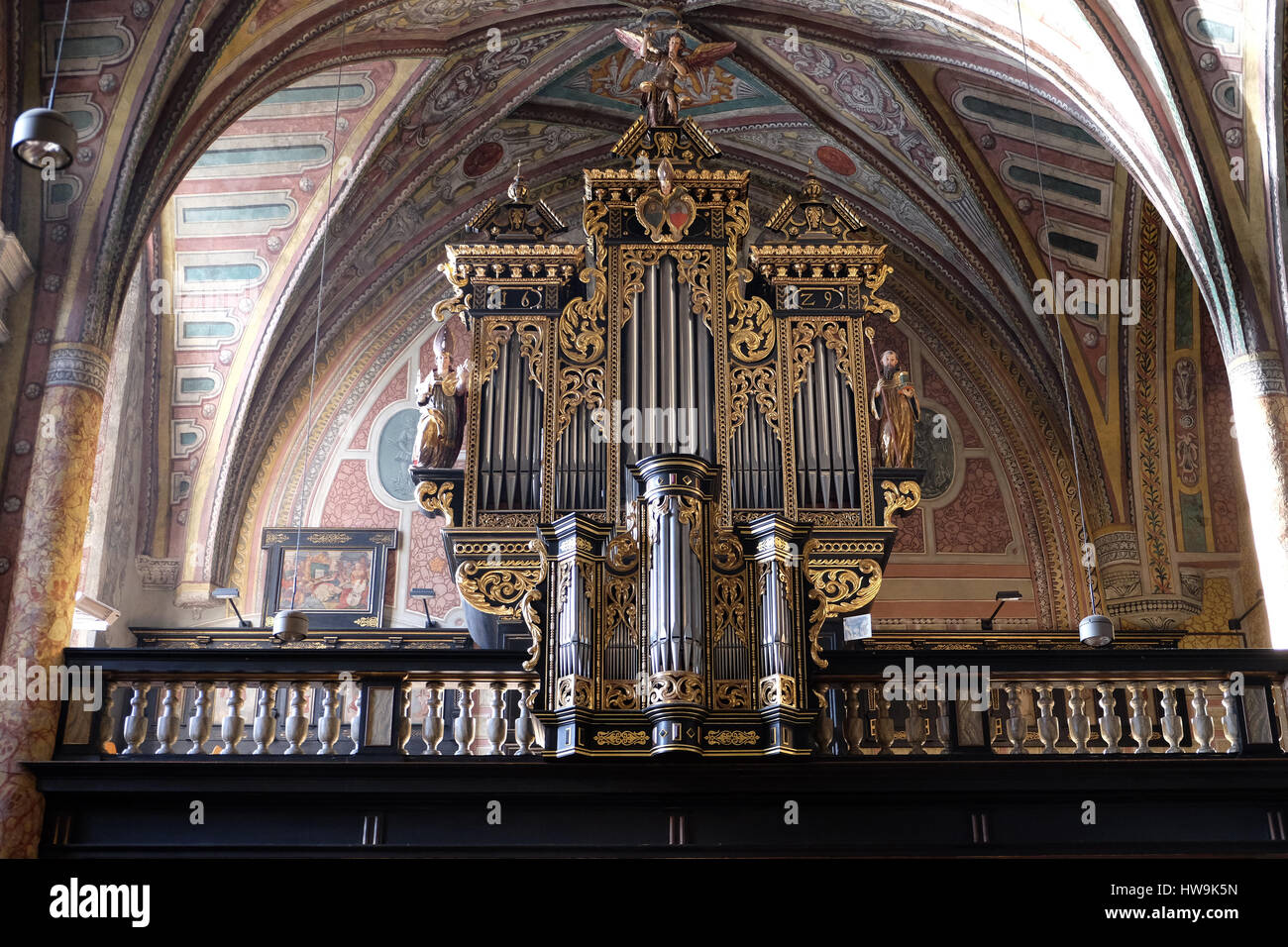 Organ in the choir of Parish church in St. Wolfgang on Wolfgangsee in Austria on December 14, 2014. - Stock Image