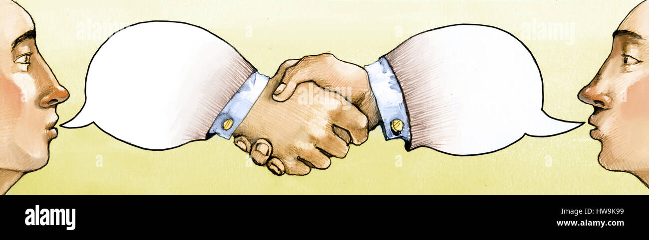 the 2 Guys profile talk and the bubble of their speech become handshake - Stock Image