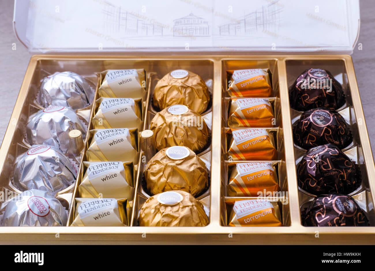 Paphos, Cyprus - November 20, 2016 Open box of Ferrero candies. - Stock Image
