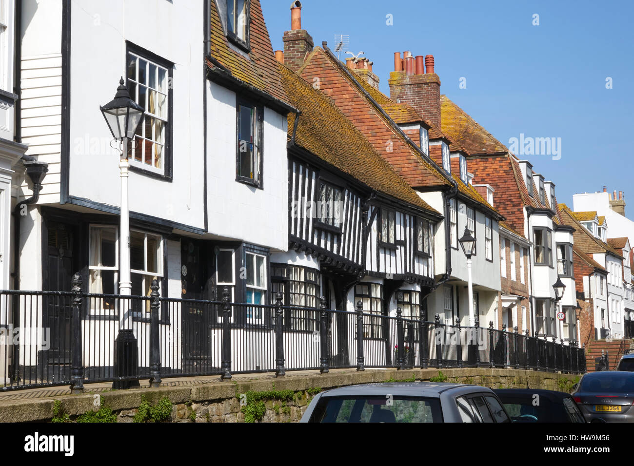 Hastings High Street, Hastings Old Town, half timbered houses on the raised pavement, East Sussex, England, Britain, - Stock Image