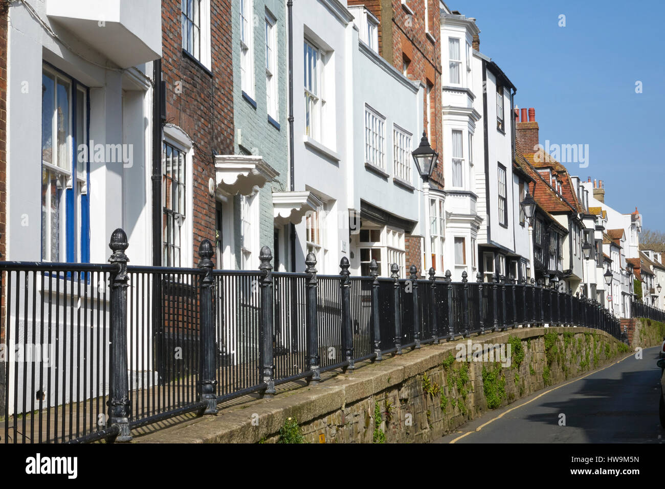 Hastings Old Town, Hastings High Street, quaint houses on the raised pavement, East Sussex, England, Britain, UK, - Stock Image