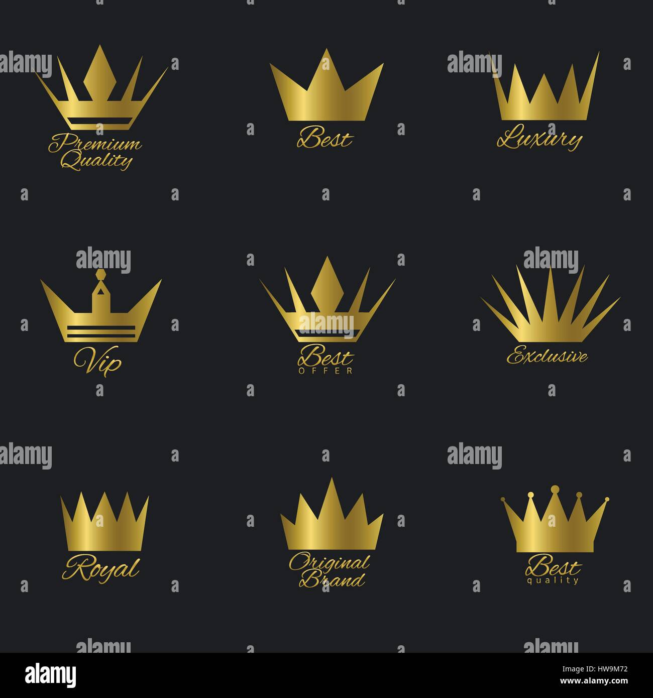 Golden Crown set - Stock Image