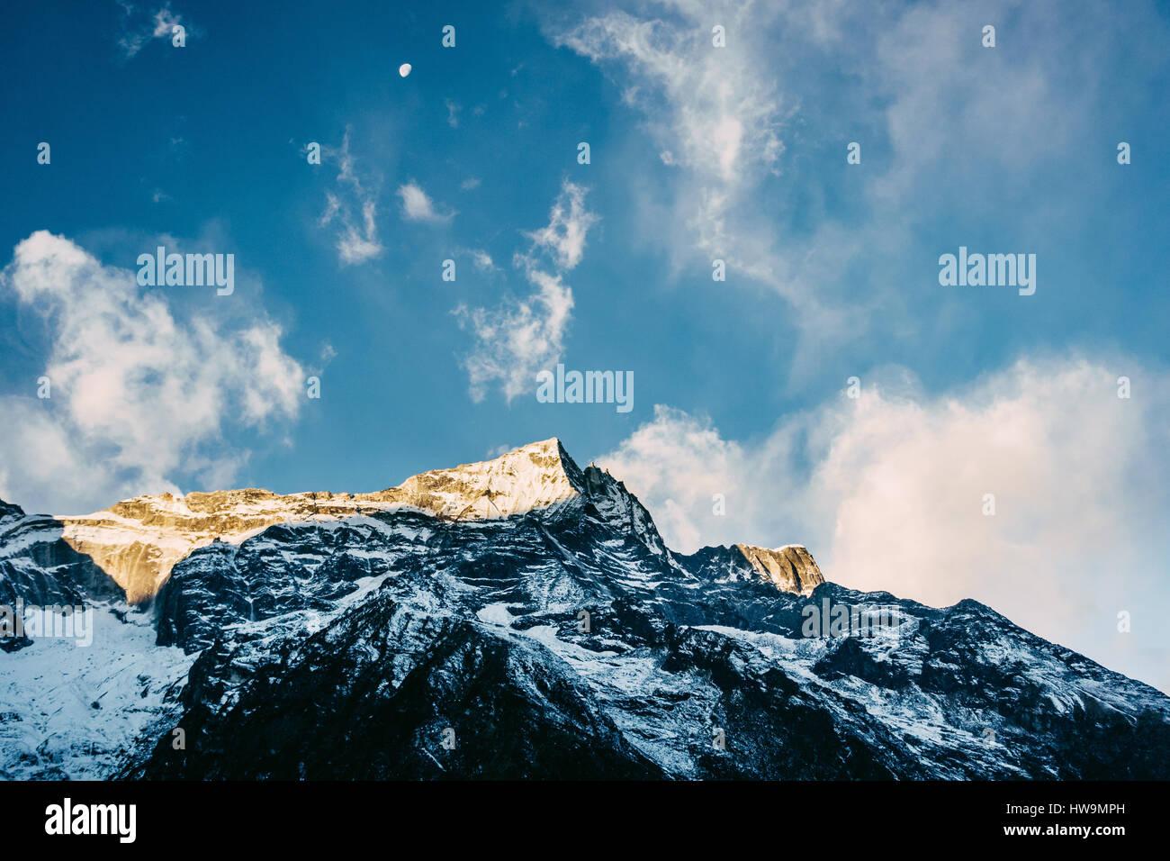 Kondge Ri mountain in the Himalayas near Namche Bazaar, Nepal - Stock Image