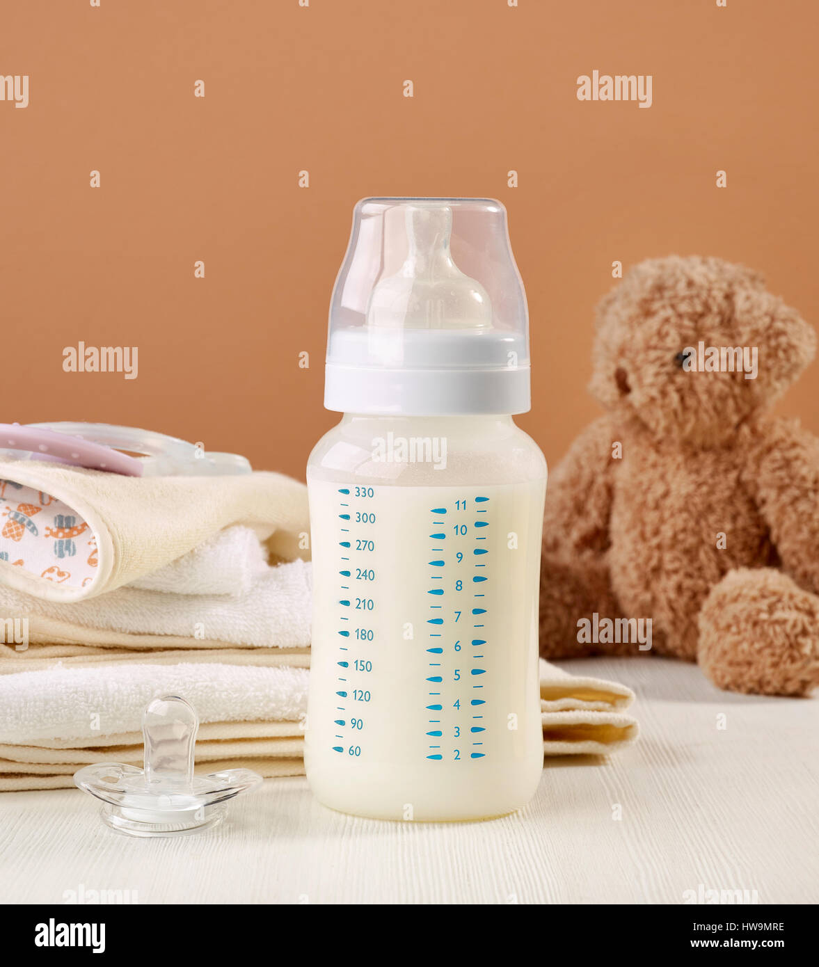 Tremendous Baby Milk Bottle On White Wooden Table Stock Photo Home Interior And Landscaping Spoatsignezvosmurscom