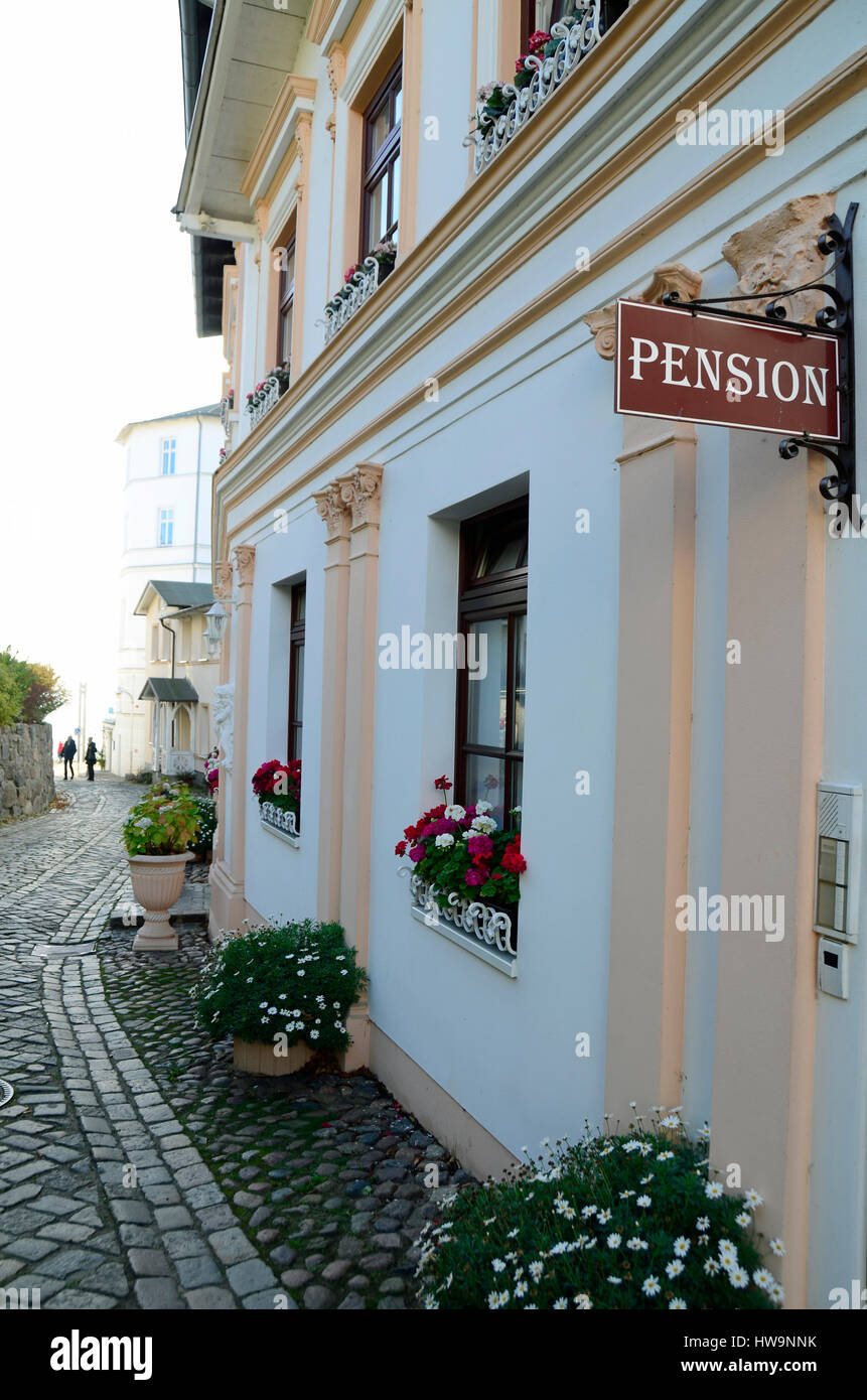 Small street with typical building (hotel) in old town of Sassnitz, Ruegen Island Stock Photo