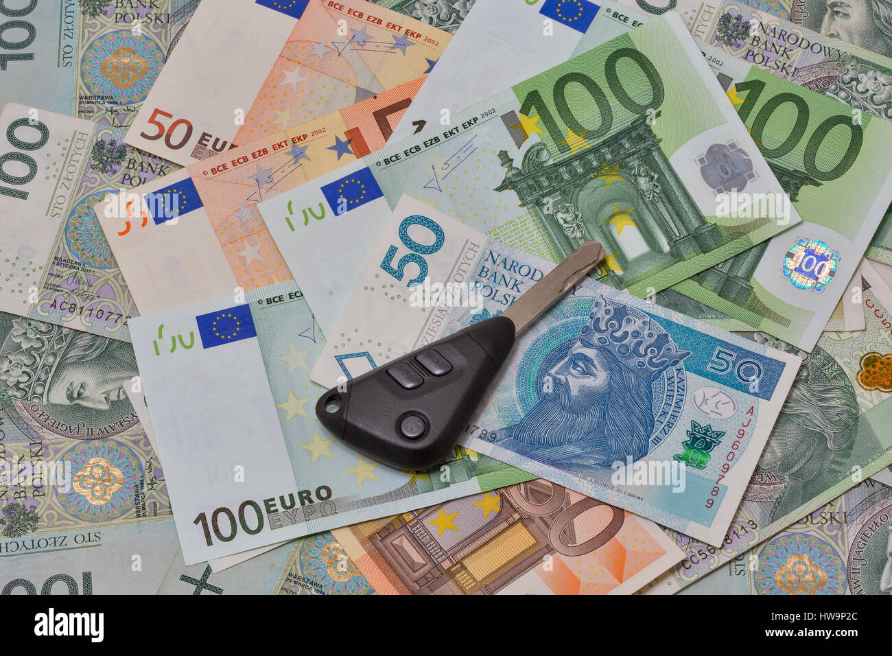 Car Keys On Polish Zloty And Euro Banknotes Background Closeup Stock