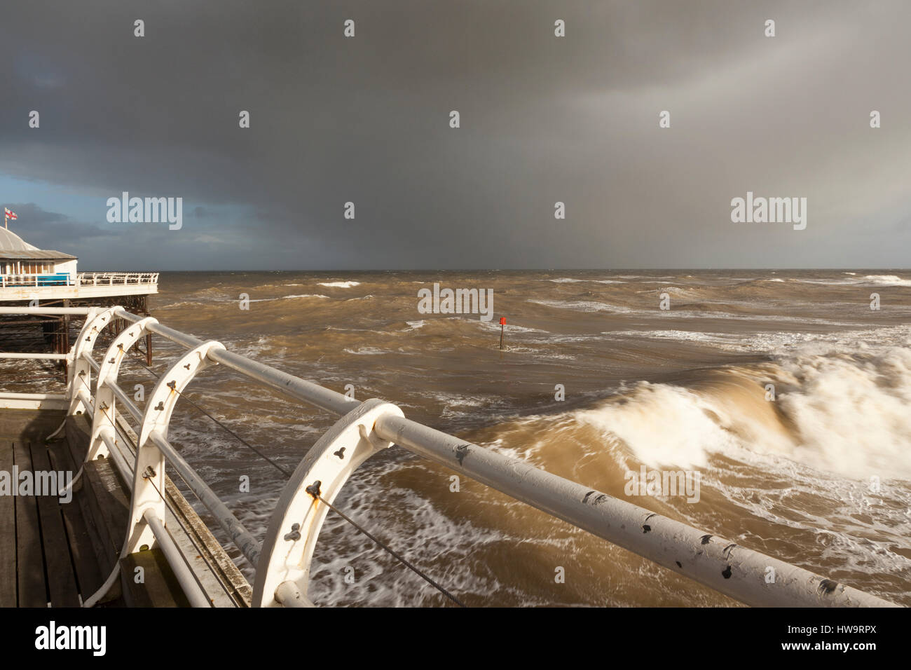 A high tide at Cromer Pier, Norfolk, UK Stock Photo
