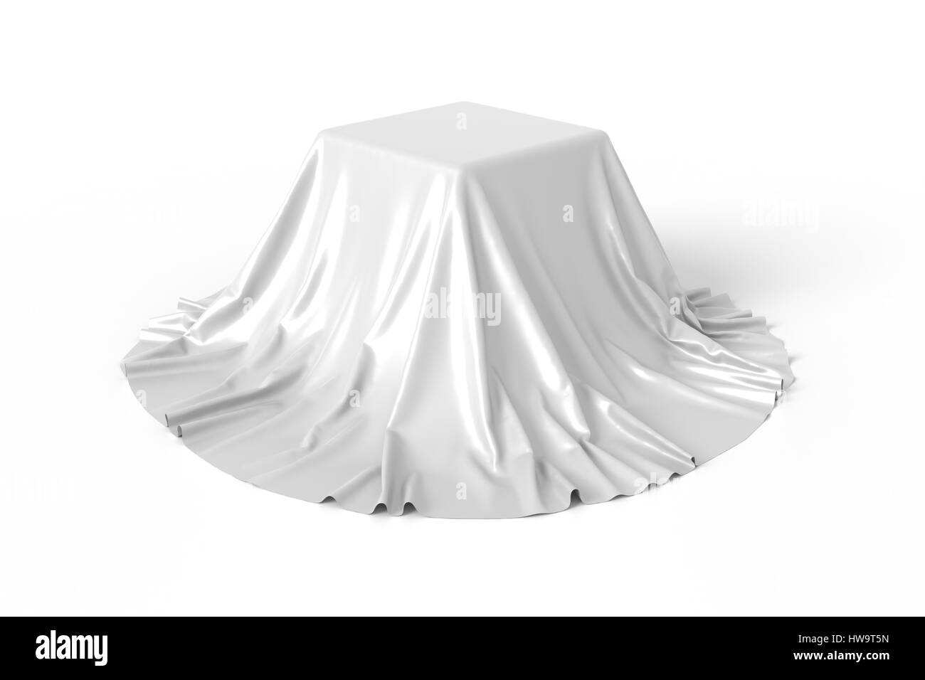 Box covered with white fabric. - Stock Image