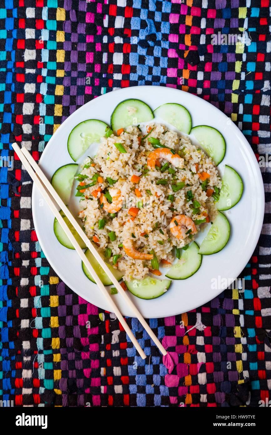 Vietnam, Hue, La Carambole Restaurant, rice with praws - Stock Image