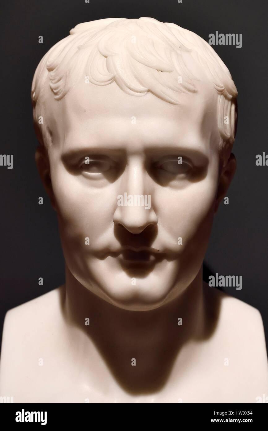 France, Corse du Sud, Ajaccio, Fesch museum (the Museum of Fine Arts), bust of Napoleon 1st by Antoine Denis Chaudet - Stock Image