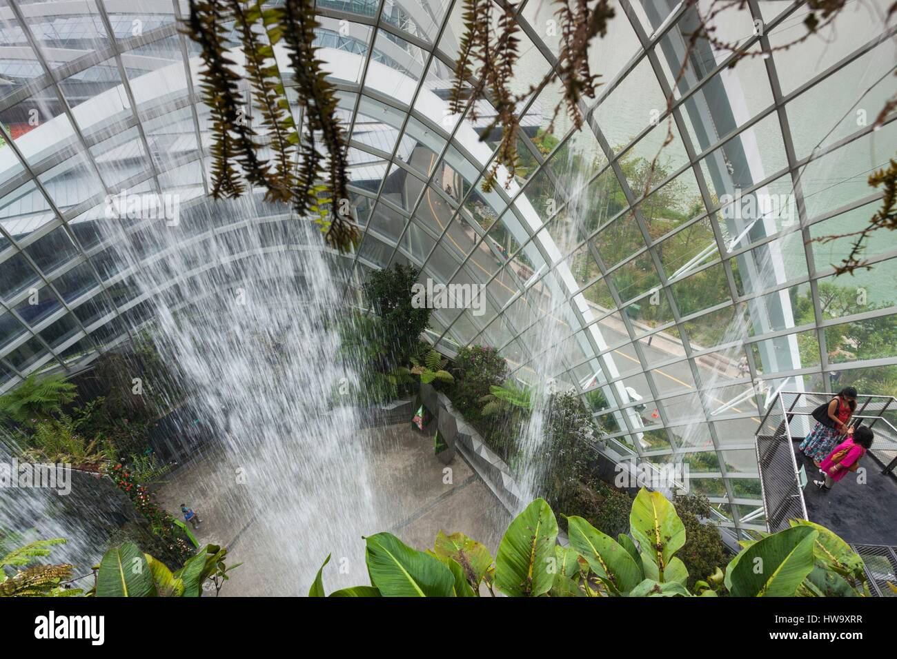 Singapore, Gardens By The Bay, Cloud Forest Indoor Botanical Garden,  Waterfall