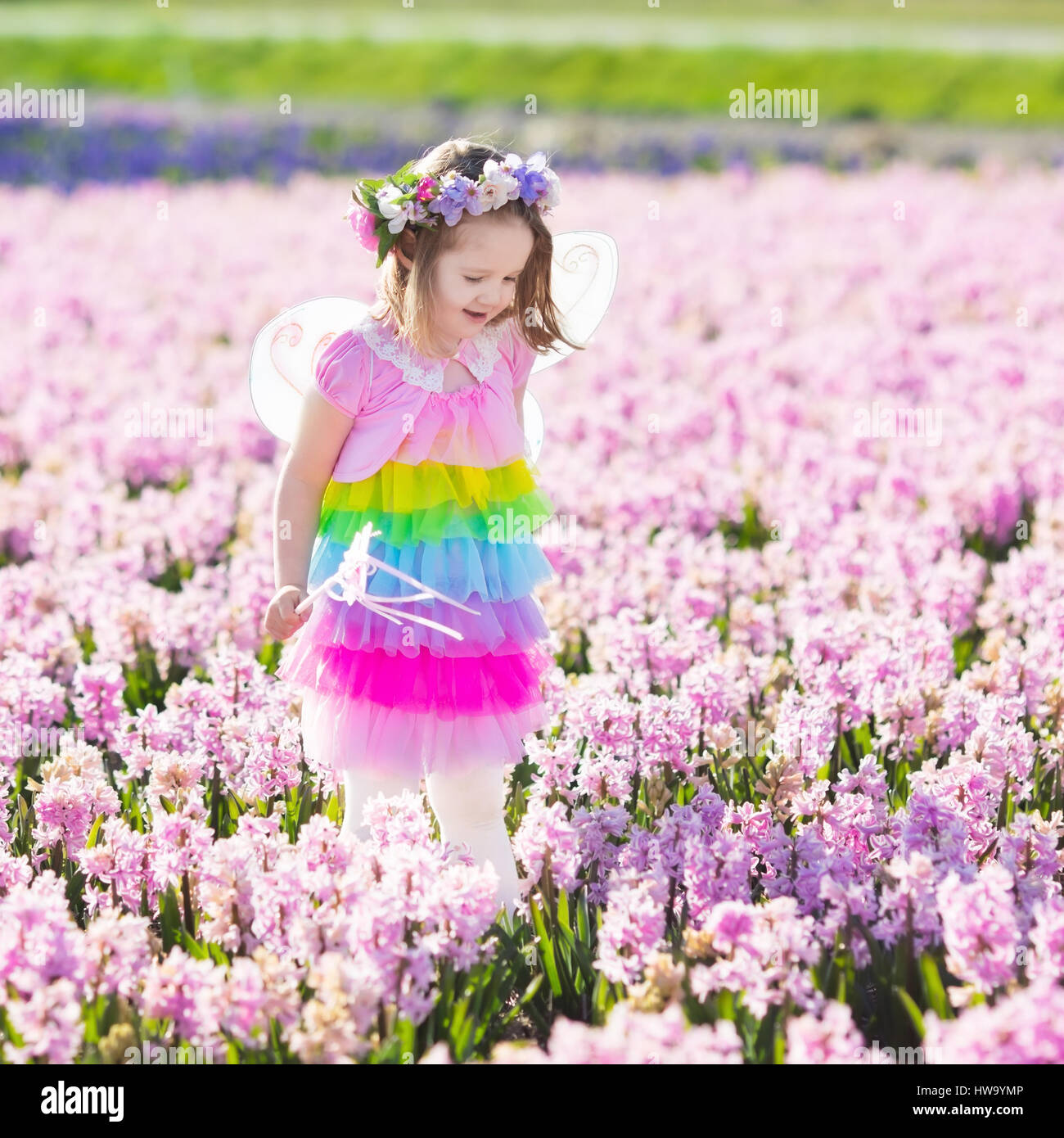 Elegant Beautiful Girl Playing In Blooming Hyacinth Flower Field. Kids Princess  Birthday Party With Fairy Costume, Butterfly Wings And Magic Wand. Children  Pl