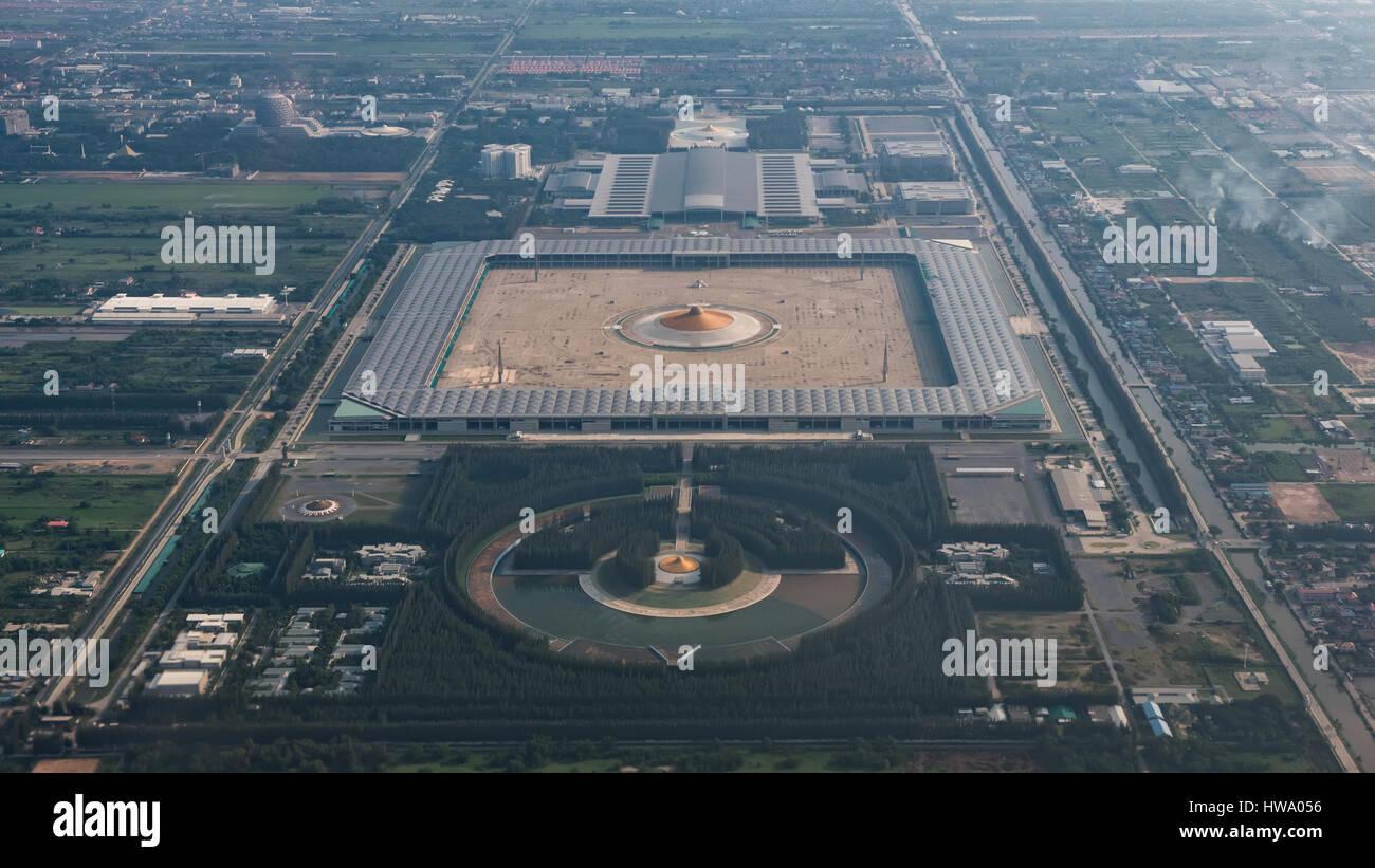 High Angle View Of Wat Phra Dhammakaya Temple Bangkok Thailand