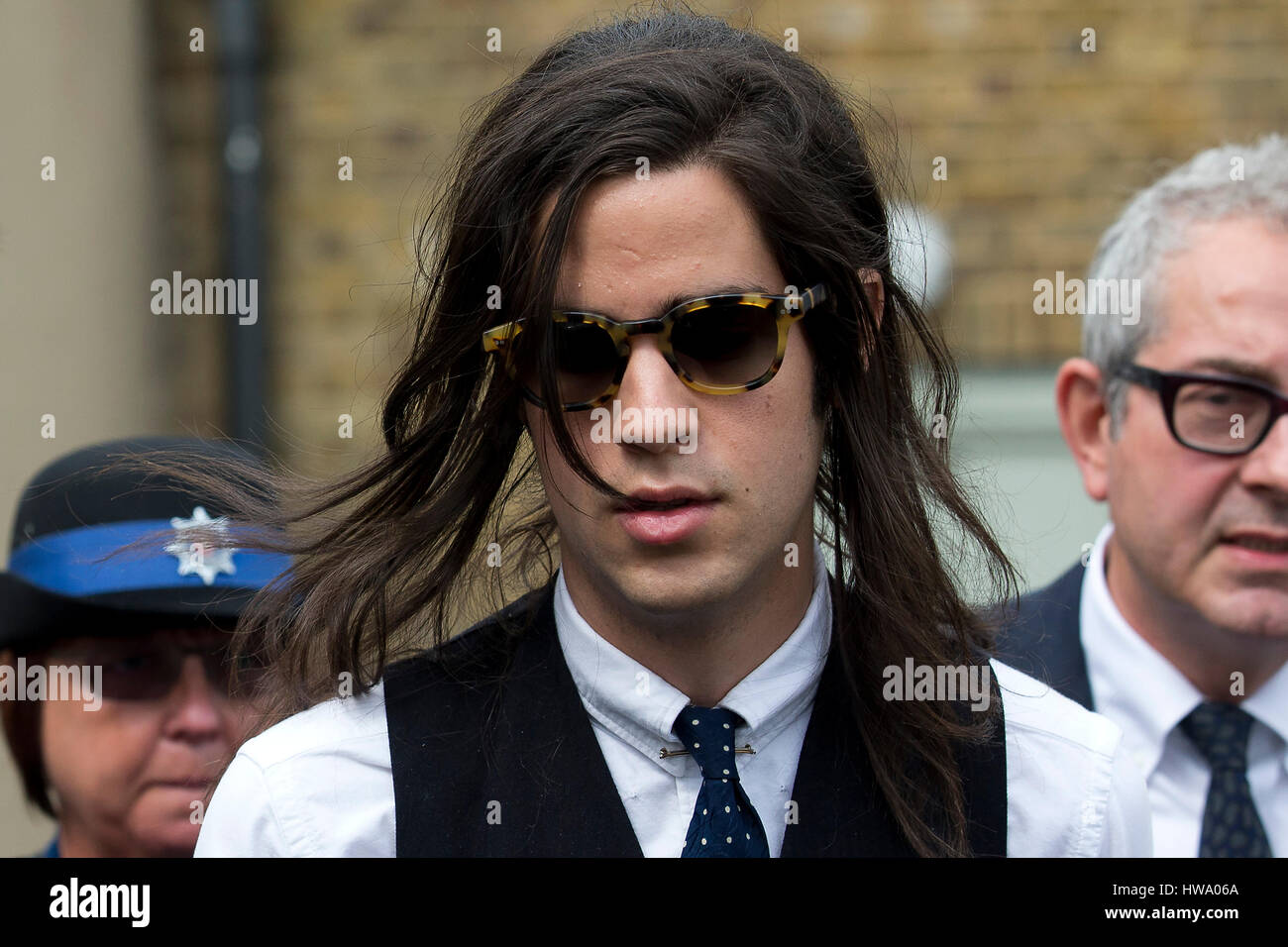 Thomas Cohen leaves after attending the inquest into the death of his wife Peaches Geldof, in Gravesend, July 23, - Stock Image