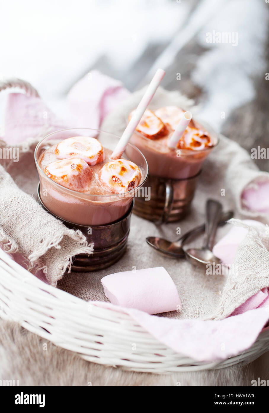 Hot Chocolate with pink roasted marshmallows - Stock Image