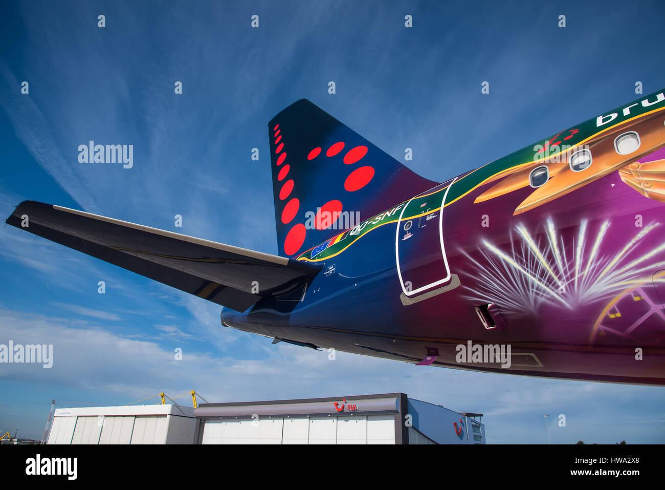 Brussels Airlines A320 parked at Brussels Airport. - Stock Image