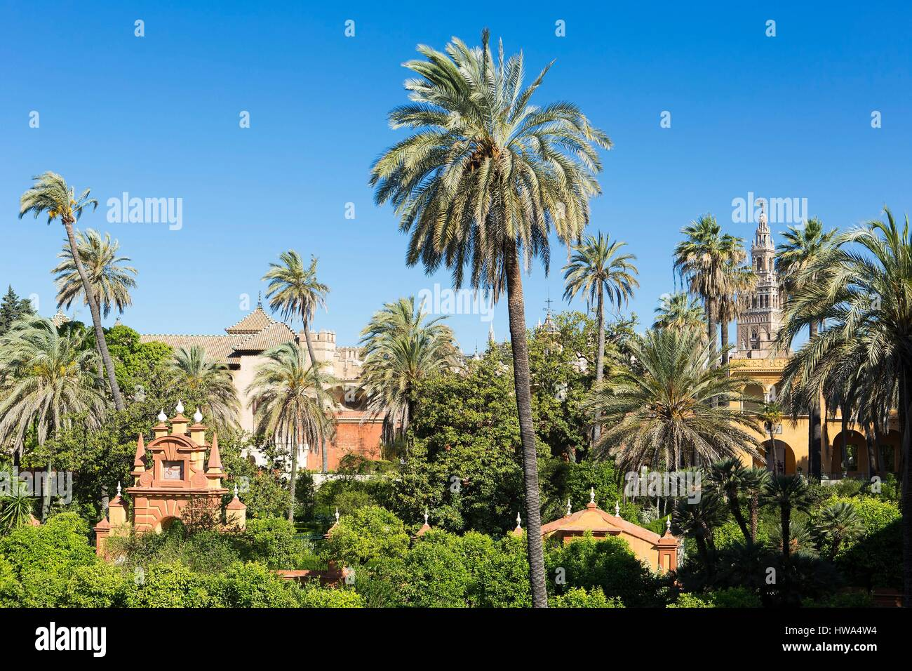 Spain, Andalucia, Sevilla, Santa Cruz district, the Alacazar (Reales Alcazares de Sevilla) listed as World Heritage Stock Photo
