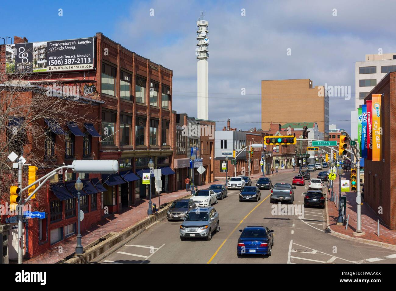 Canada, New Brunswick, Moncton, downtown, Main Street and