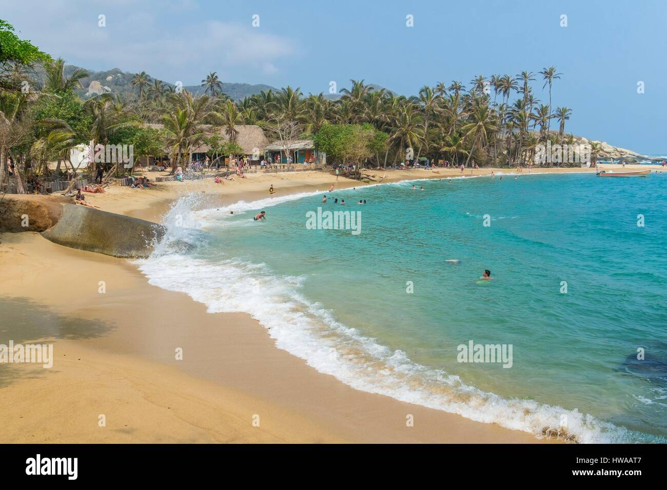 Colombia, Magdalena department, Tayrona National Park (Parque Nacional Tayrona) founded in 1969, the beach in Cabo - Stock Image