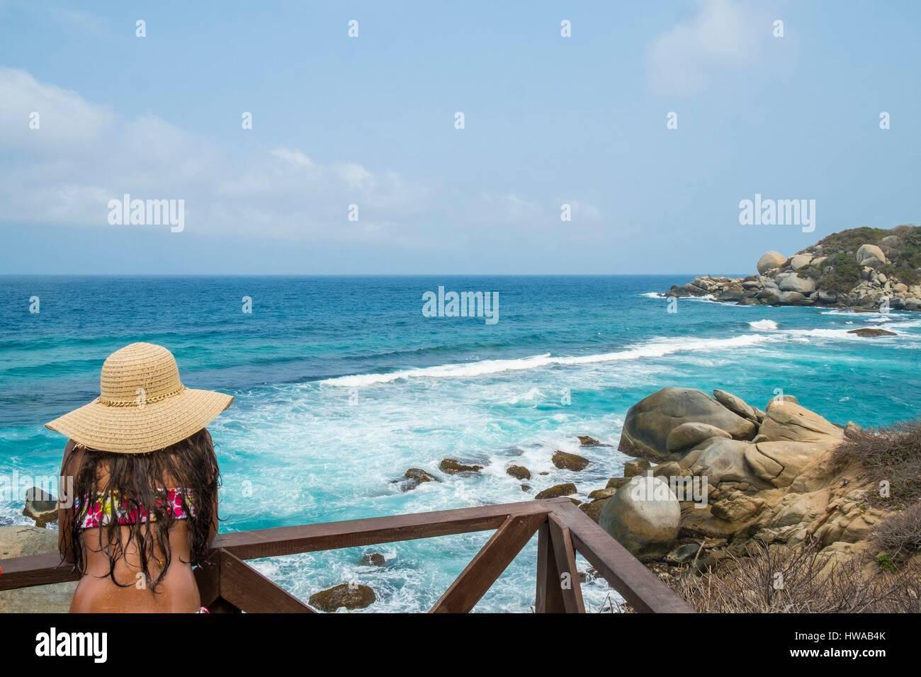 Colombia, Magdalena department, Tayrona National Park (Parque Nacional Tayrona) beach in Cabo San Juan del Guia - Stock Image