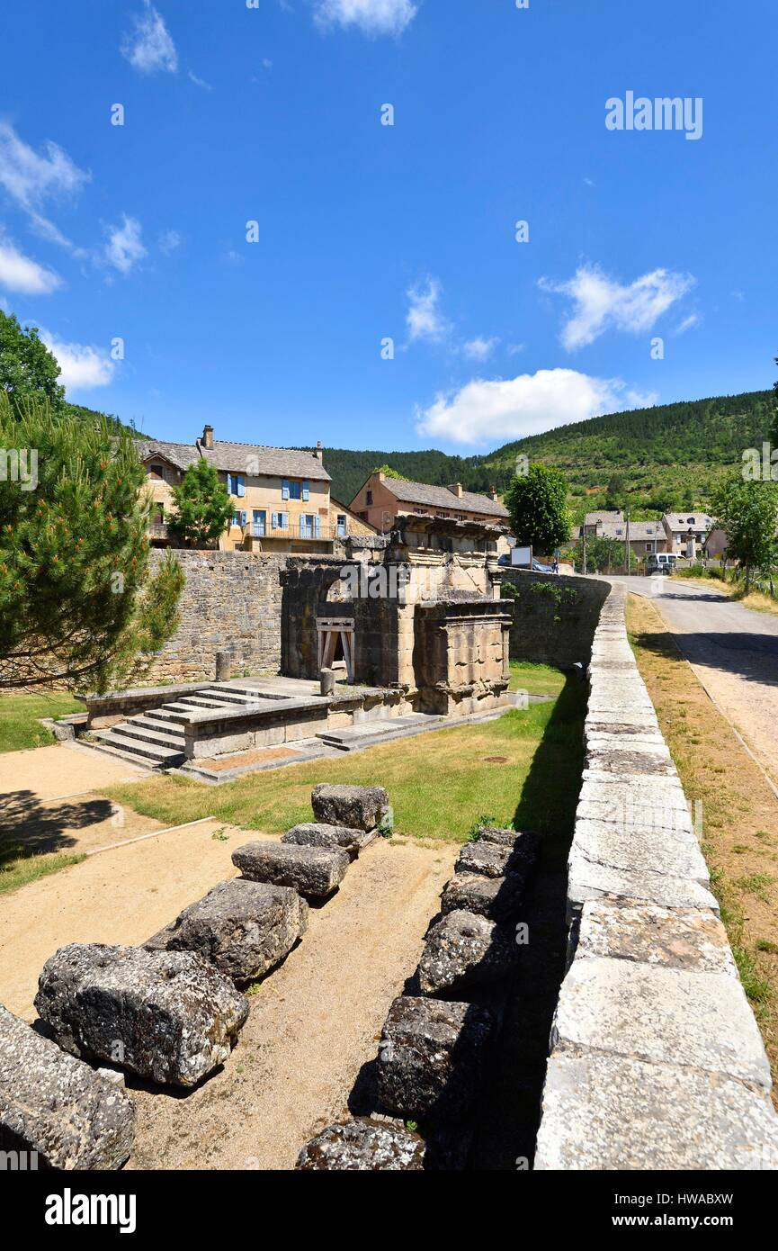 France, Lozere, near Mende, the Roman mausoleum Lanuejols higher at the end of the second century by a wealthy family Stock Photo