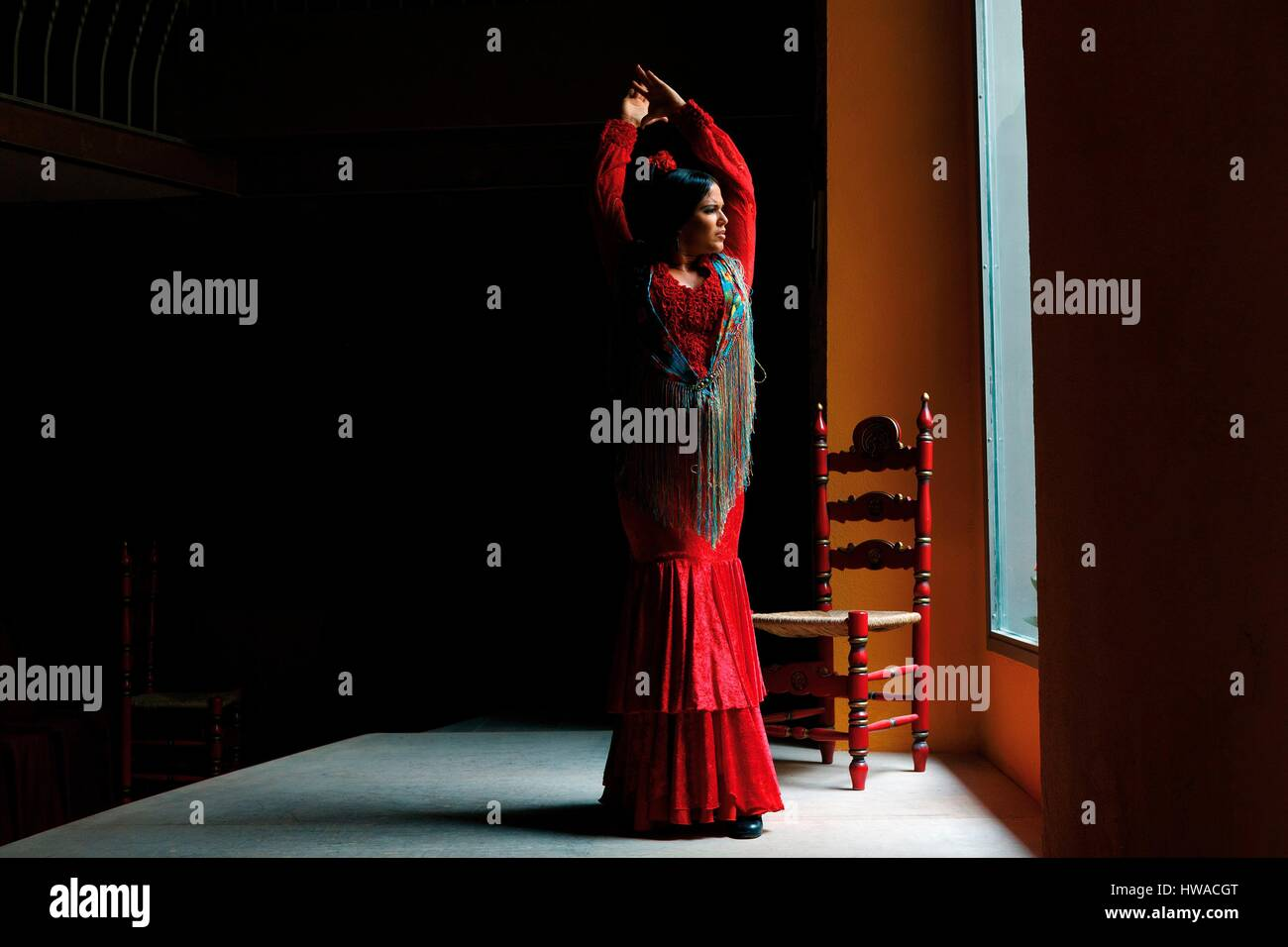 Spain, Andalusia, Sevilla, Cuna street, Casa de la Memoria, flamenco dancer in action - Stock Image
