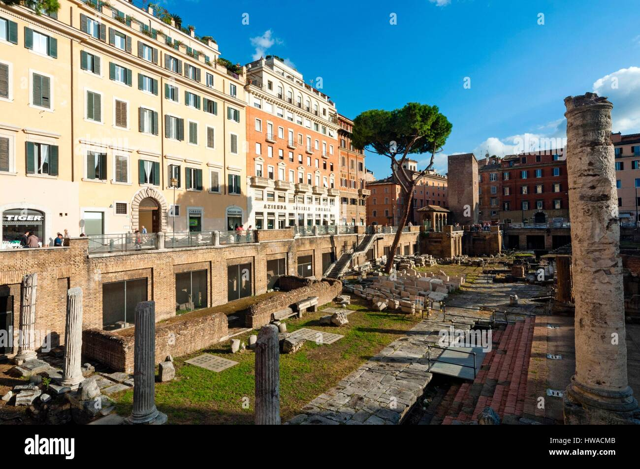 Italy, Latium, Rome, historical centre listed as World Heritage by UNESCO, Ruins of Roman temples at Area Sacra, - Stock Image