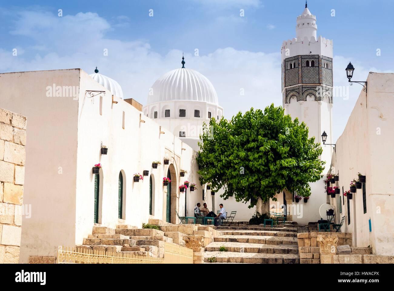 Tunisia, Northwest region, El Kef or Le Kef, Minaret of mosque of Sidi Bou Makhlouf Stock Photo