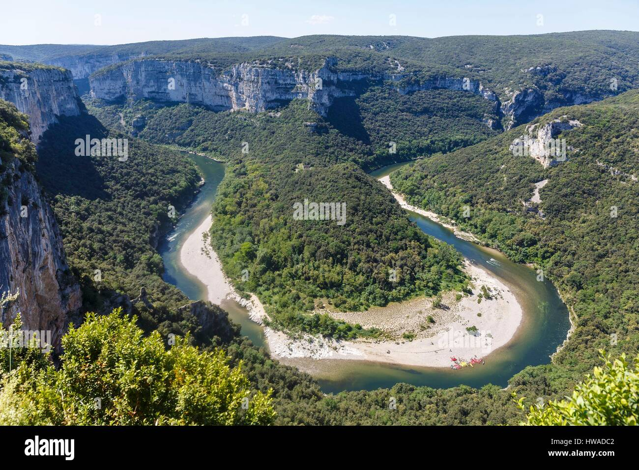 France, Ardeche, Saint Remeze, Ardeche gorges, view of the gorges from the templiers belvedere - Stock Image