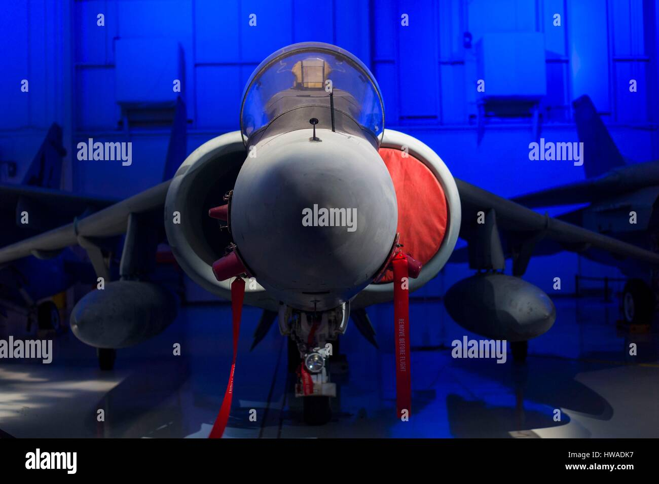 United States, North Carolina, Charlotte, Carolina's Aviation Museum, interior, Harrier VTOL jet - Stock Image