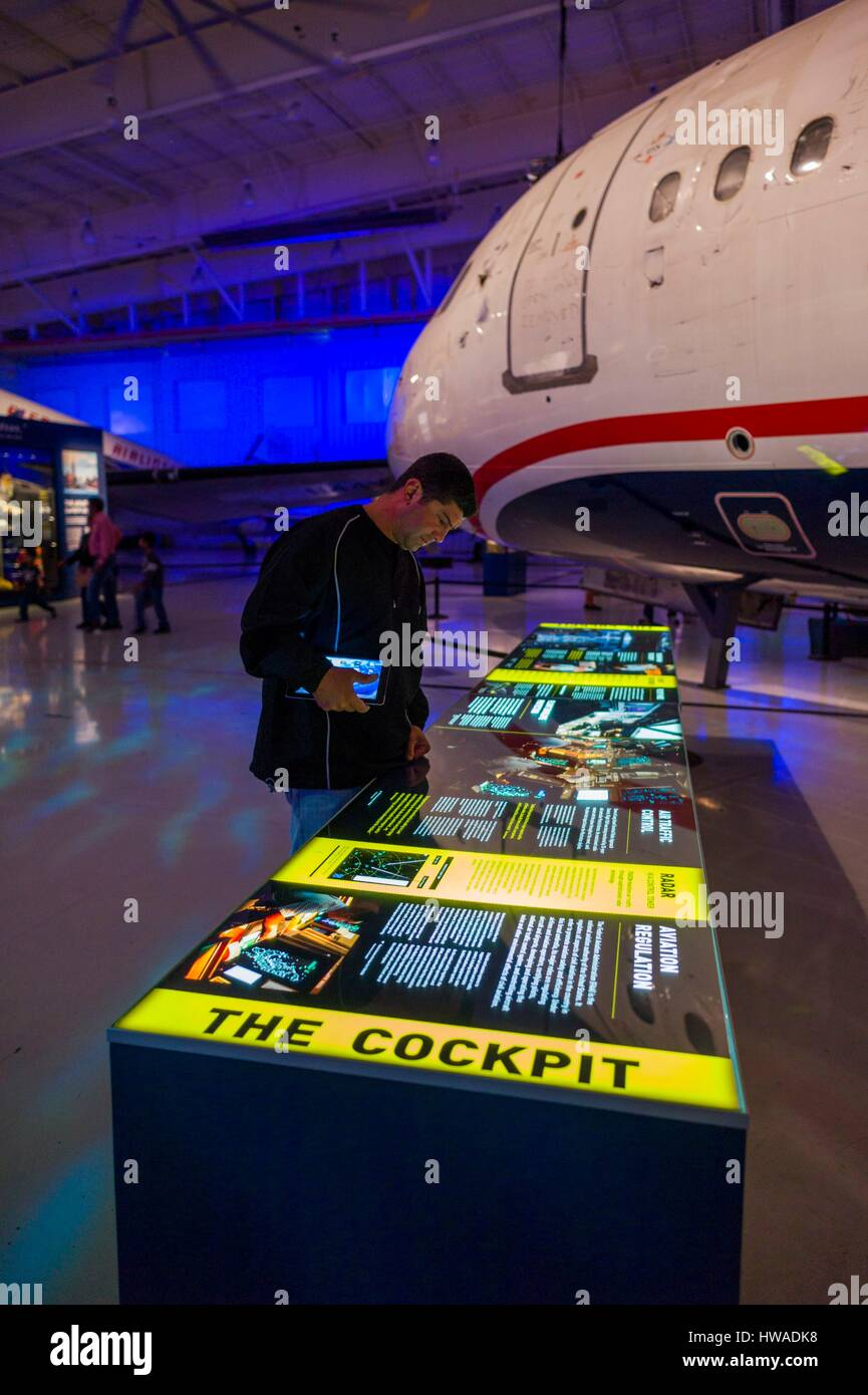 United States, North Carolina, Charlotte, Carolina's Aviation Museum, interior, display for US Airways Fight - Stock Image