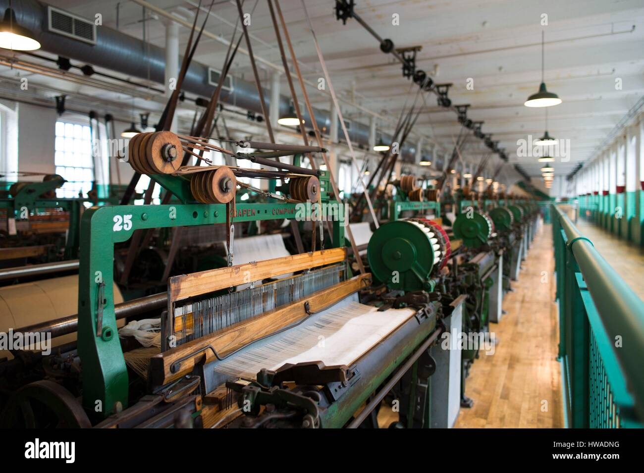 United States, Massachusetts, Lowell, Lowell National Historic Park, Boott Cotton Mills Museum, the weave room, - Stock Image