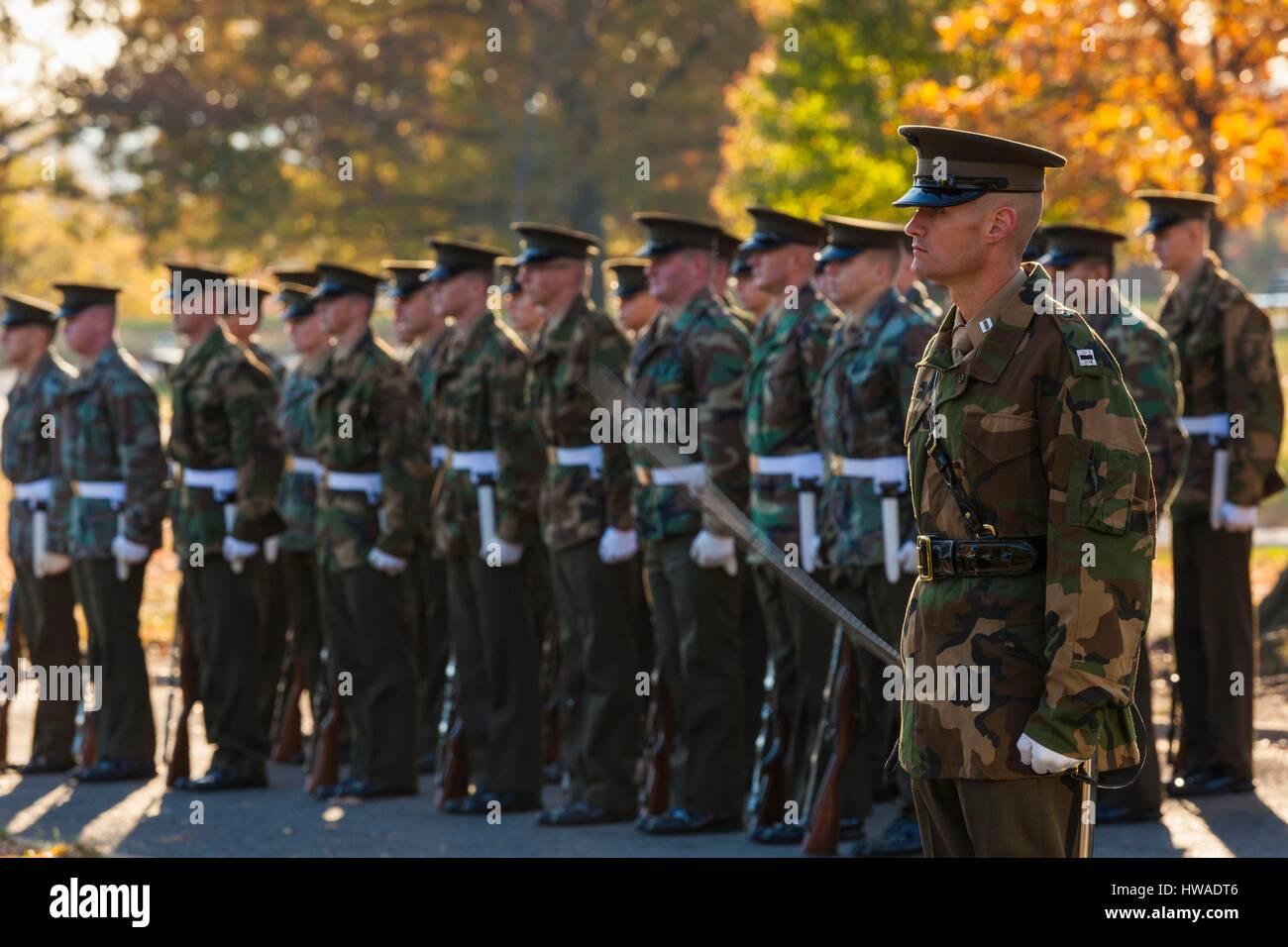 United States, Virginia, Arlington, US Marines by the Iwo Jima Memorial - Stock Image