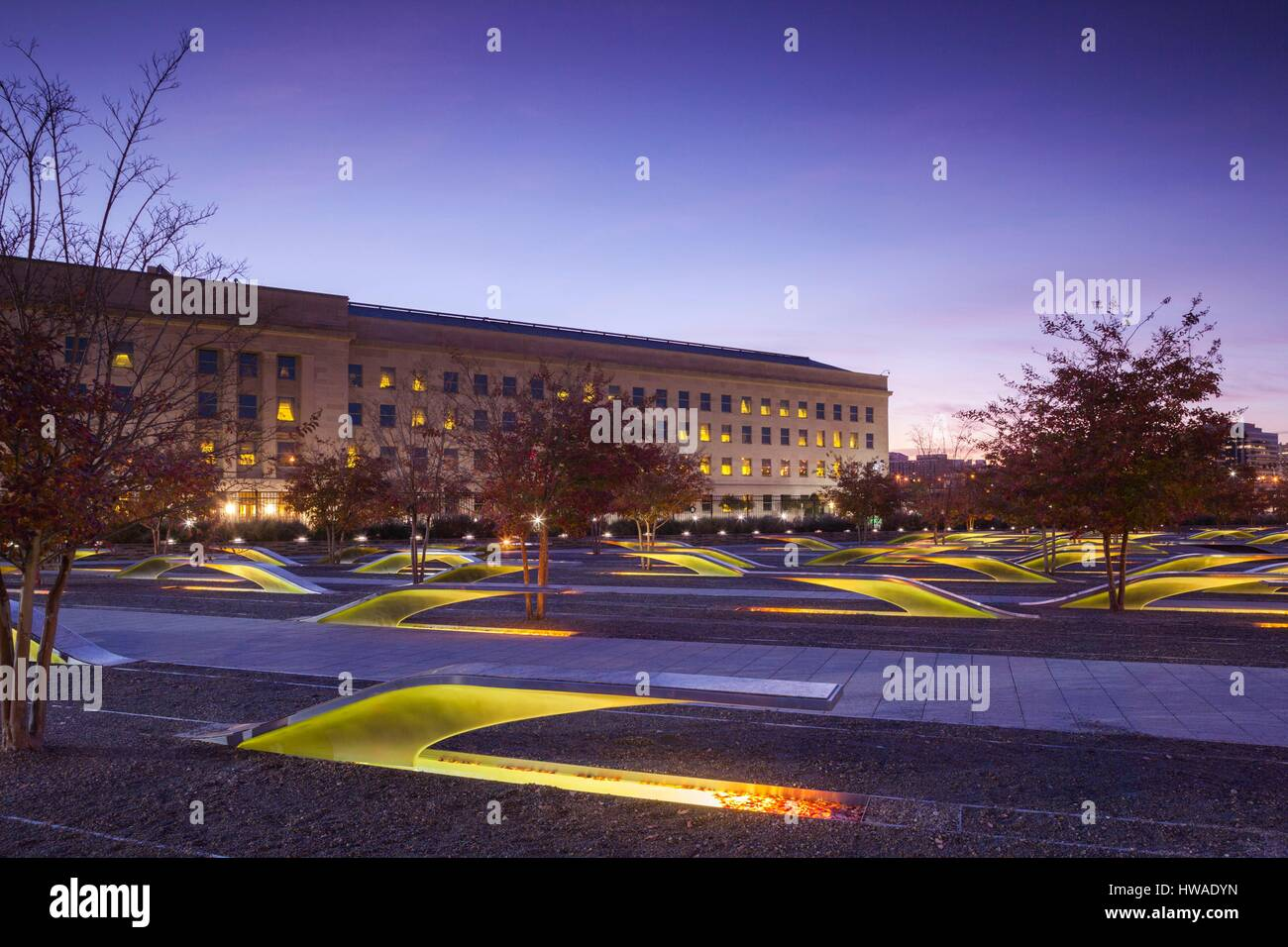 United States, Virginia, Arlington The Pentagon, Pentagon 911 Memorial, dawn - Stock Image