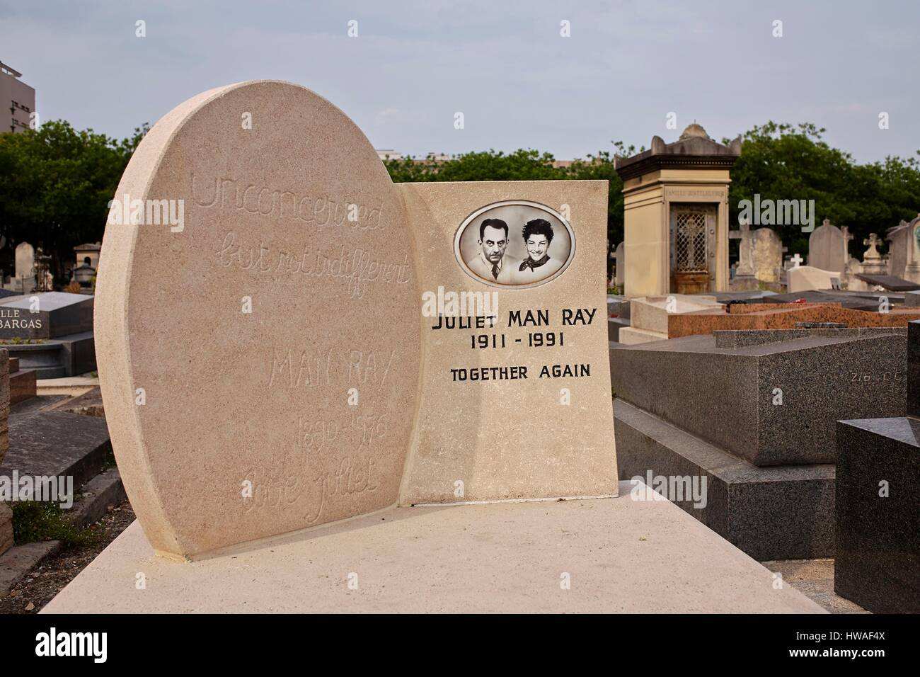 "France, Paris, Montparnasse Cemetery, Tomb of Man Ray Emmanuel said Radnitzky bearing the epitaph: ""Unconcerned, Stock Photo"