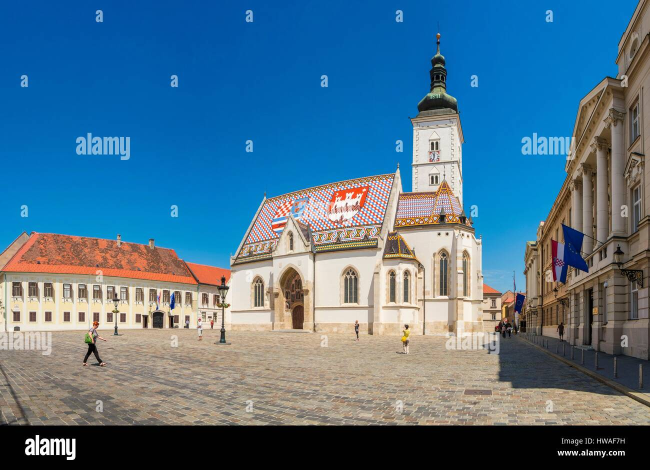 Croatia, Zagreb, old town district Gradec, upper town Place Marka, Church of St. Marc from the thirteenth-fourteenth - Stock Image