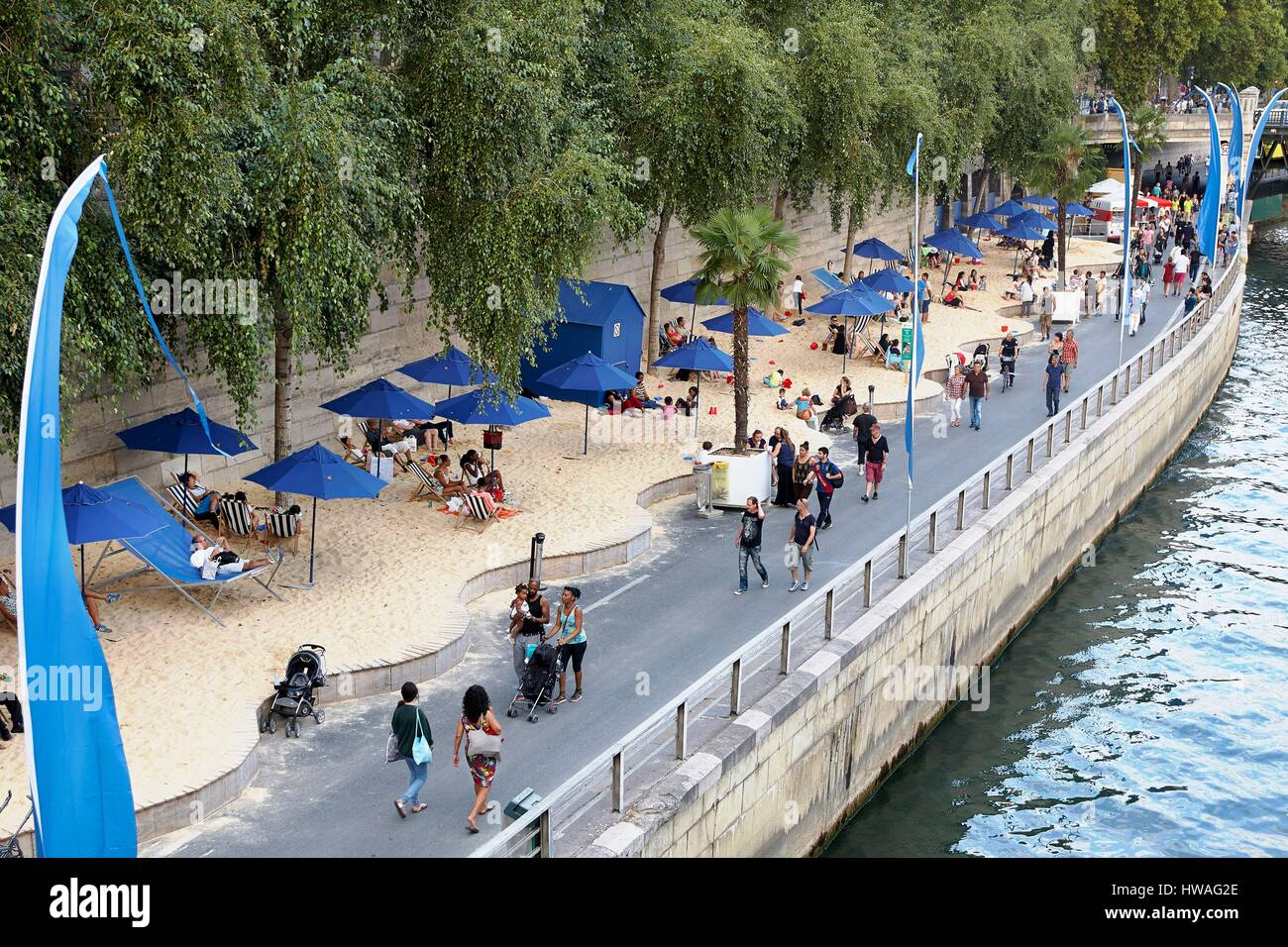 France, Paris, area listed as World Heritage by UNESCO, right bank of the Seine, Paris Beaches - Stock Image