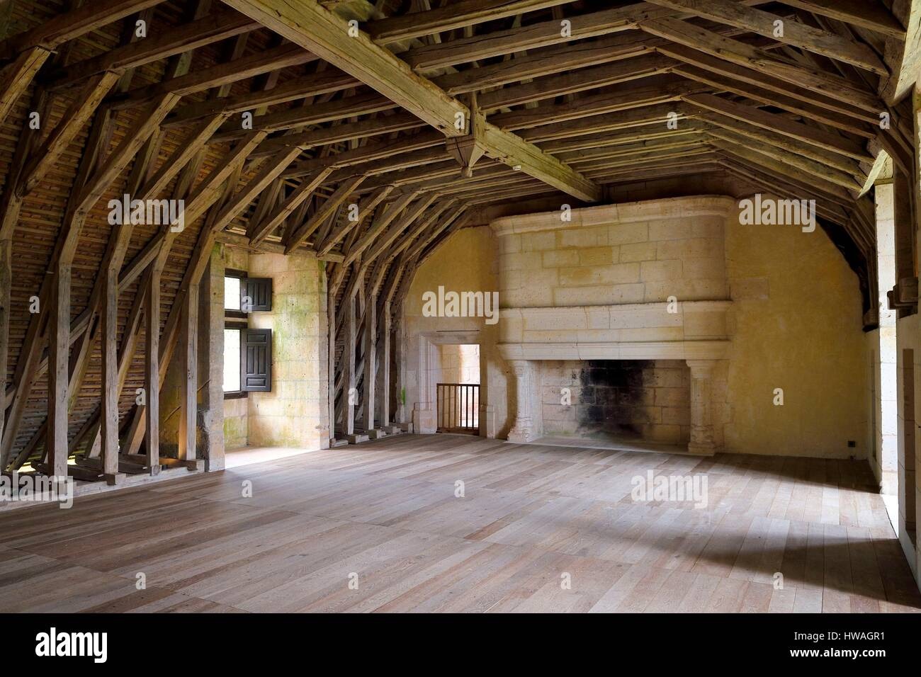 France, Dordogne, Périgord Vert, Villars, Puyguilhem castle, the oak beams in overturned hull boat shaped Stock Photo