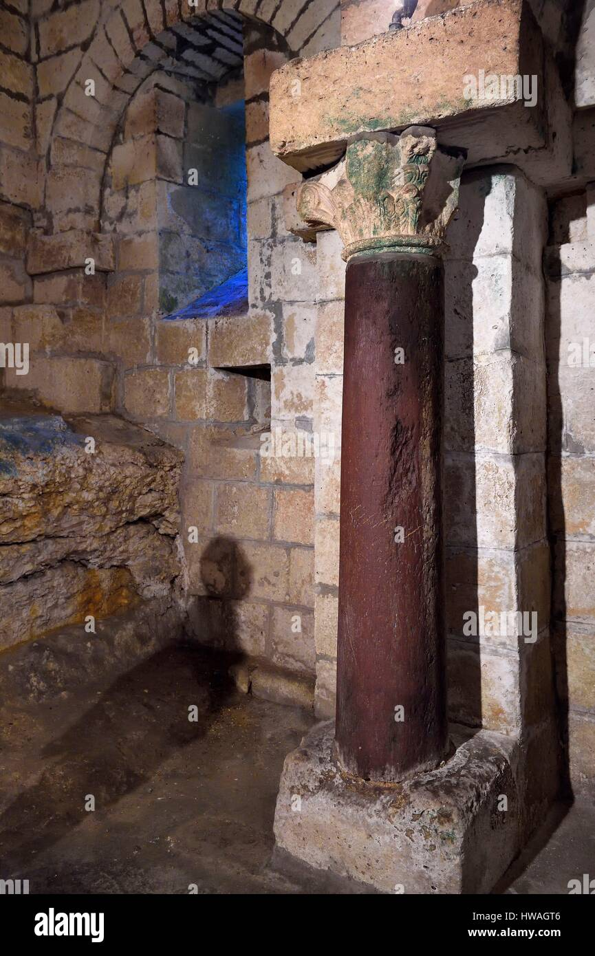 France, Dordogne, Brantome, Saint Pierre benedictine abbey, the bell tower foundations of the abbey church (11th - Stock Image